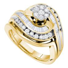 14K Yellow Gold Jewelry 0.80 ctw Diamond Bridal Ring Set - WGD19676 - REF#M84Y1