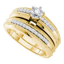 14K Yellow Gold Jewelry 0.25 ctw Diamond Bridal Ring Set - WGD53209 - REF#M54Y1