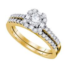 14K Yellow Gold Jewelry 0.75 ctw Diamond Bridal Ring Set - WGD59158 - REF#W78P2