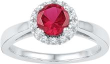 Genuine 1.30 CTW Ruby & Diamond Ladies Ring 10KT White Gold - GD103797-REF#30X4Y