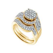 Genuine 1 CTW Diamond Bridal Set Ring 14KT Yellow Gold - GD47827-REF#158M4F