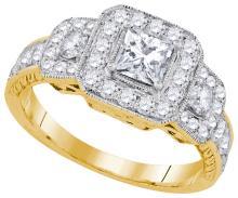 Natural 1.50 ctw Diamond Bridal Ring 14K Yellow Gold - GD92829-REF#351R2K