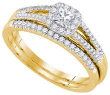 Natural 0.50 ctw Diamond Bridal Set Ring 14K Yellow Gold - GD92815-REF#90K2T