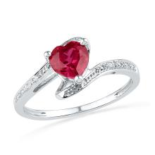 Genuine 1.01 CTW Ruby & Diamond Ladies Ring 10KT White Gold - GD101254-REF#10R7H