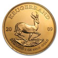 One 2009 South Africa 1 oz Gold Krugerrand - WJA47755