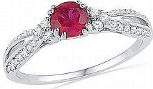 Genuine 0.82 CTW Ruby & Diamond Ladies Ring 10KT White Gold - GD100274-REF#21S6V
