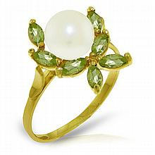 Genuine 2.65 ctw Pearl & Peridot Ring Jewelry 14KT Yellow Gold - GG-3493-REF#28P5H