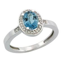Natural 1.08 ctw London-blue-topaz & Diamond Engagement Ring 14K White Gold - SC#CW405150