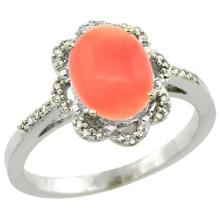 Natural 2.09 ctw Coral & Diamond Engagement Ring 14K White Gold - SC#CW445105