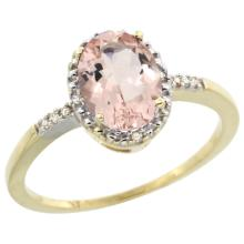 Natural 1.2 ctw Morganite & Diamond Engagement Ring 14K Yellow Gold - SC#CY413113