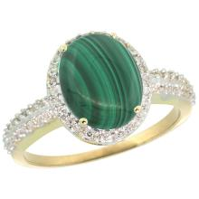 Natural 2.56 ctw Malachite & Diamond Engagement Ring 10K Yellow Gold - SC#CY947138