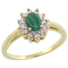 Natural 0.67 ctw Malachite & Diamond Engagement Ring 10K Yellow Gold - SC#CY947103