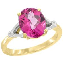 Natural 2.41 ctw Pink-topaz & Diamond Engagement Ring 14K Yellow Gold - SC#CY406112