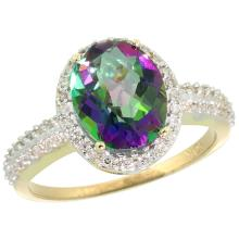 Natural 2.56 ctw Mystic-topaz & Diamond Engagement Ring 10K Yellow Gold - SC#CY908138