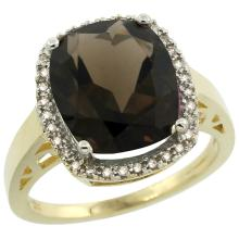 Natural 5.28 ctw Smoky-topaz & Diamond Engagement Ring 14K Yellow Gold - SC#CY407124