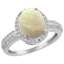 Natural 2.56 ctw Opal & Diamond Engagement Ring 14K White Gold - SC#CW420138