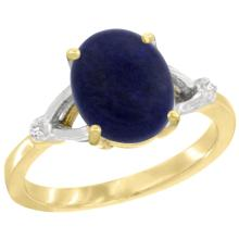 Natural 2.51 ctw Lapis & Diamond Engagement Ring 10K Yellow Gold - SC#CY946112