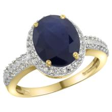Natural 2.56 ctw Blue-sapphire & Diamond Engagement Ring 10K Yellow Gold - SC#CY916138