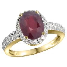 Natural 2.3 ctw Ruby & Diamond Engagement Ring 14K Yellow Gold - SC#CY414139