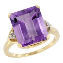 Natural 5.44 ctw amethyst & Diamond Engagement Ring 14K Yellow Gold - SC#CY401177