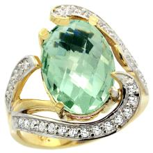Natural 6.22 ctw green-amethyst & Diamond Engagement Ring 14K Yellow Gold - SC#R308101Y02