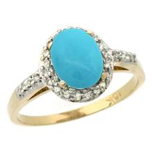 Natural 1.3 ctw Turquoise & Diamond Engagement Ring 10K Yellow Gold - SC#CY918137