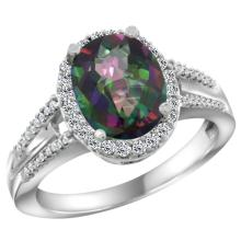 Natural 2.72 ctw mystic-topaz & Diamond Engagement Ring 10K White Gold - SC#CW908174