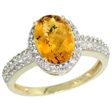 Natural 1.91 ctw Whisky-quartz & Diamond Engagement Ring 10K Yellow Gold - SC#CY926139