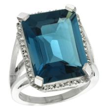 Natural 15.06 ctw London-blue-topaz & Diamond Engagement Ring 10K White Gold - SC#CW905133