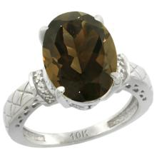 Natural 5.53 ctw Smoky-topaz & Diamond Engagement Ring 10K White Gold - SC#CW907200