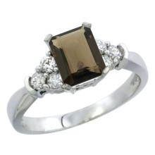 Natural 1.48 ctw smoky-topaz & Diamond Engagement Ring 10K White Gold - SC#CW907169