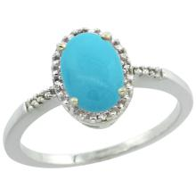 Natural 1.2 ctw Turquoise & Diamond Engagement Ring 10K White Gold - SC#CW918113