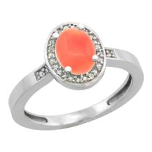 Natural 0.83 ctw Coral & Diamond Engagement Ring 10K White Gold - SC#CW945150