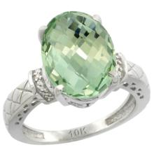Natural 5.53 ctw Green-amethyst & Diamond Engagement Ring 14K White Gold - SC#CW402200