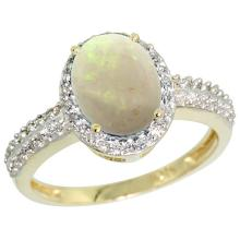 Natural 1.21 ctw Opal & Diamond Engagement Ring 10K Yellow Gold - SC#CY920139