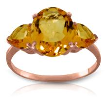 Genuine 3.5 ctw Citrine Ring Jewelry 14KT Rose Gold - GG#1646