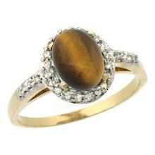 Natural 1.16 ctw Tiger-eye & Diamond Engagement Ring 10K Yellow Gold - SC#CY924137