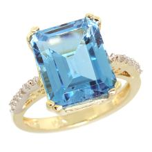 Natural 5.48 ctw Swiss-blue-topaz & Diamond Engagement Ring 10K Yellow Gold - SC#CY904141