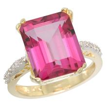 Natural 5.48 ctw Pink-topaz & Diamond Engagement Ring 14K Yellow Gold - SC#CY406141