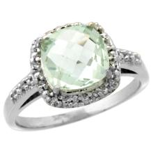 Natural 3.92 ctw Green-amethyst & Diamond Engagement Ring 14K White Gold - SC#CW402136