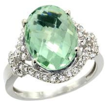 Natural 5.89 ctw green-amethyst & Diamond Engagement Ring 14K White Gold - SC#R275011W02