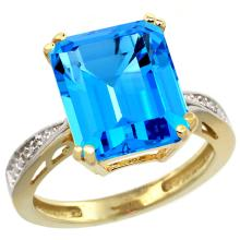 Natural 5.42 ctw Swiss-blue-topaz & Diamond Engagement Ring 10K Yellow Gold - SC#CY904149