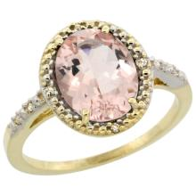 Natural 2.92 ctw Morganite & Diamond Engagement Ring 10K Yellow Gold - SC#CY913111