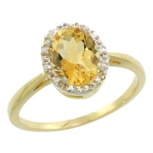 Natural 1.22 ctw Citrine & Diamond Engagement Ring 14K Yellow Gold - SC#CY409101