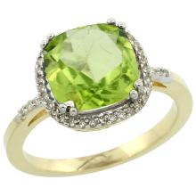 Natural 4.11 ctw Peridot & Diamond Engagement Ring 10K Yellow Gold - SC#CY911121