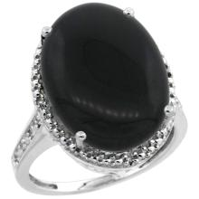 Natural 6.28 ctw Onyx & Diamond Engagement Ring 10K White Gold - SC#CW917108