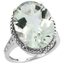 Natural 13.6 ctw Green-amethyst & Diamond Engagement Ring 10K White Gold - SC#CW902108