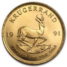 One 1991 South Africa 1 oz Gold Krugerrand - WJA34845