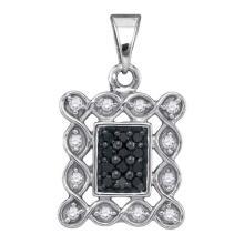10K White Gold Jewelry 0.25 ctw White Diamond & Black Diamond Pendant - GD#88918 - REF#R14F5