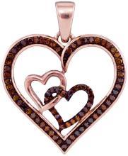 10K Rose Gold Jewelry 0.25 ctw Cognac Diamond Pendant - GD#93540 - REF#G24V1